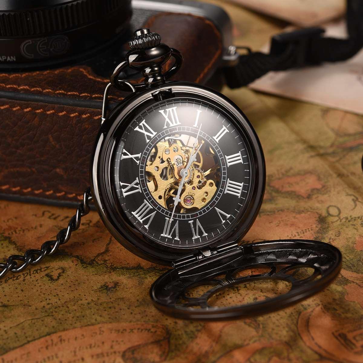Black Mechanical Pocket Watch