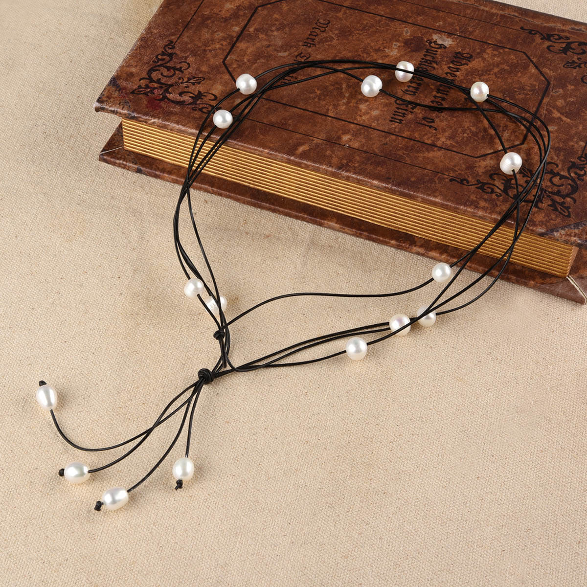 Pearls Leather Versatile Four Layered Necklace