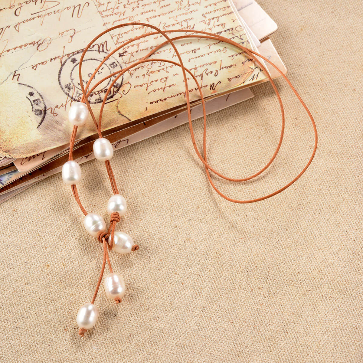 Pearl Leather Knotted Lariat Necklace