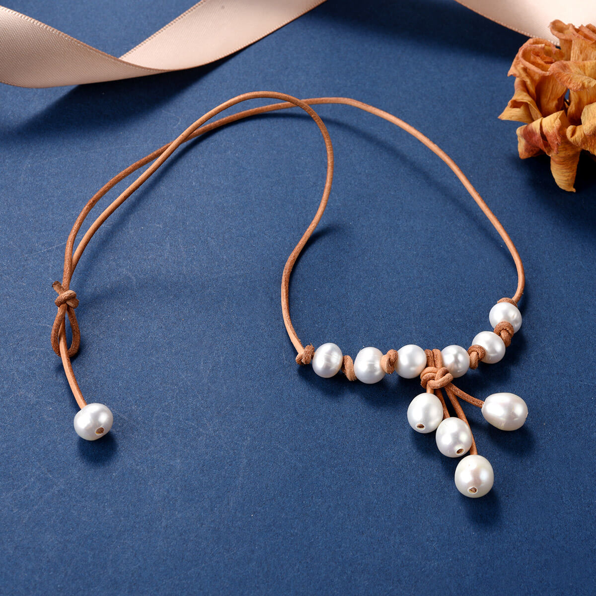 Freshwater Pearl Leather Princess Necklace