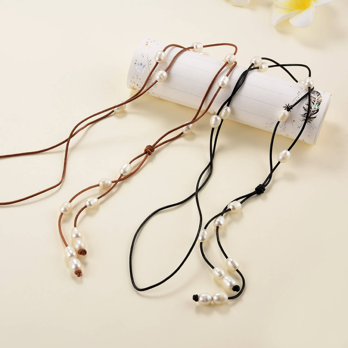Cultured Pearl and Leather Lariat Necklace