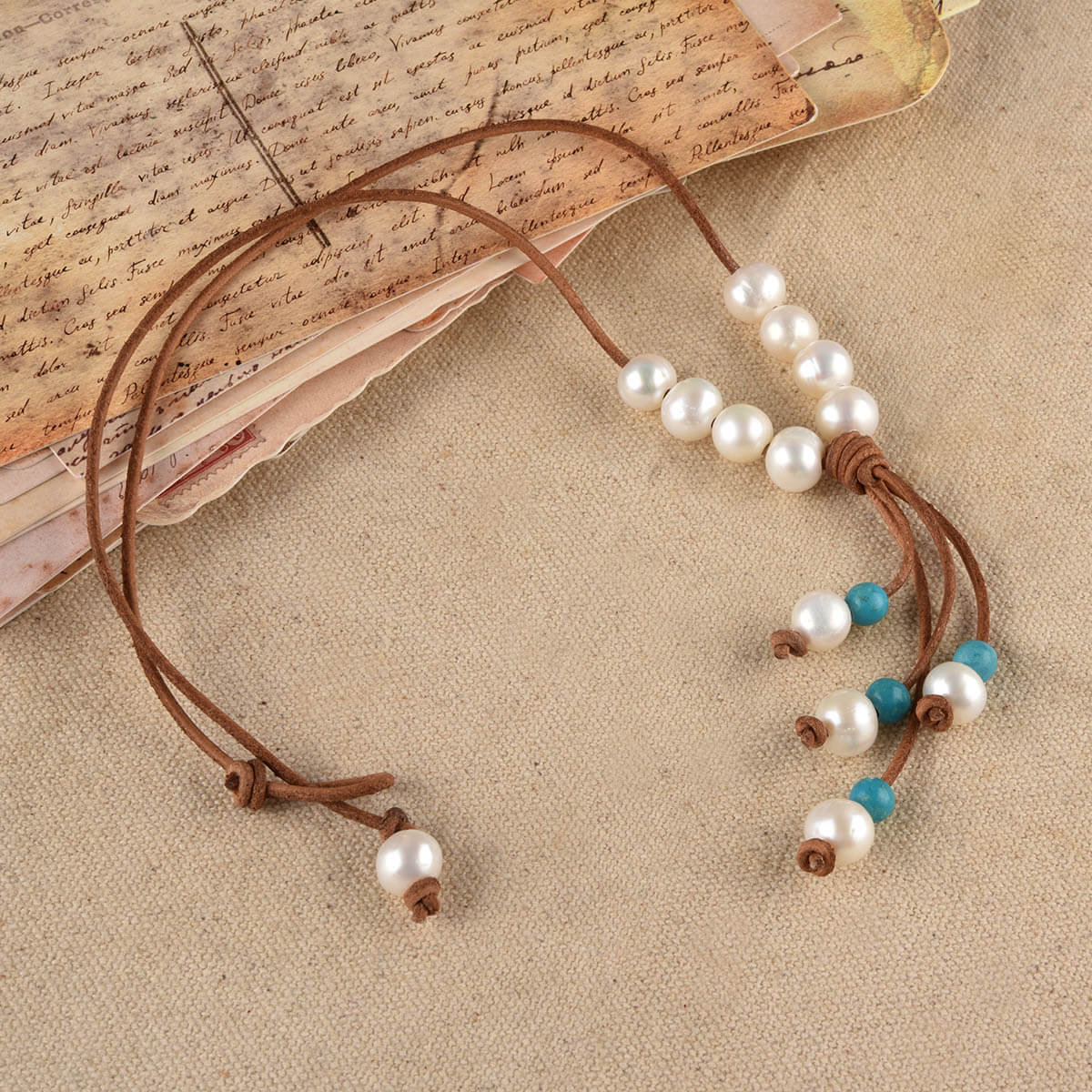 Turquoise Beads Leather Lariat Necklace
