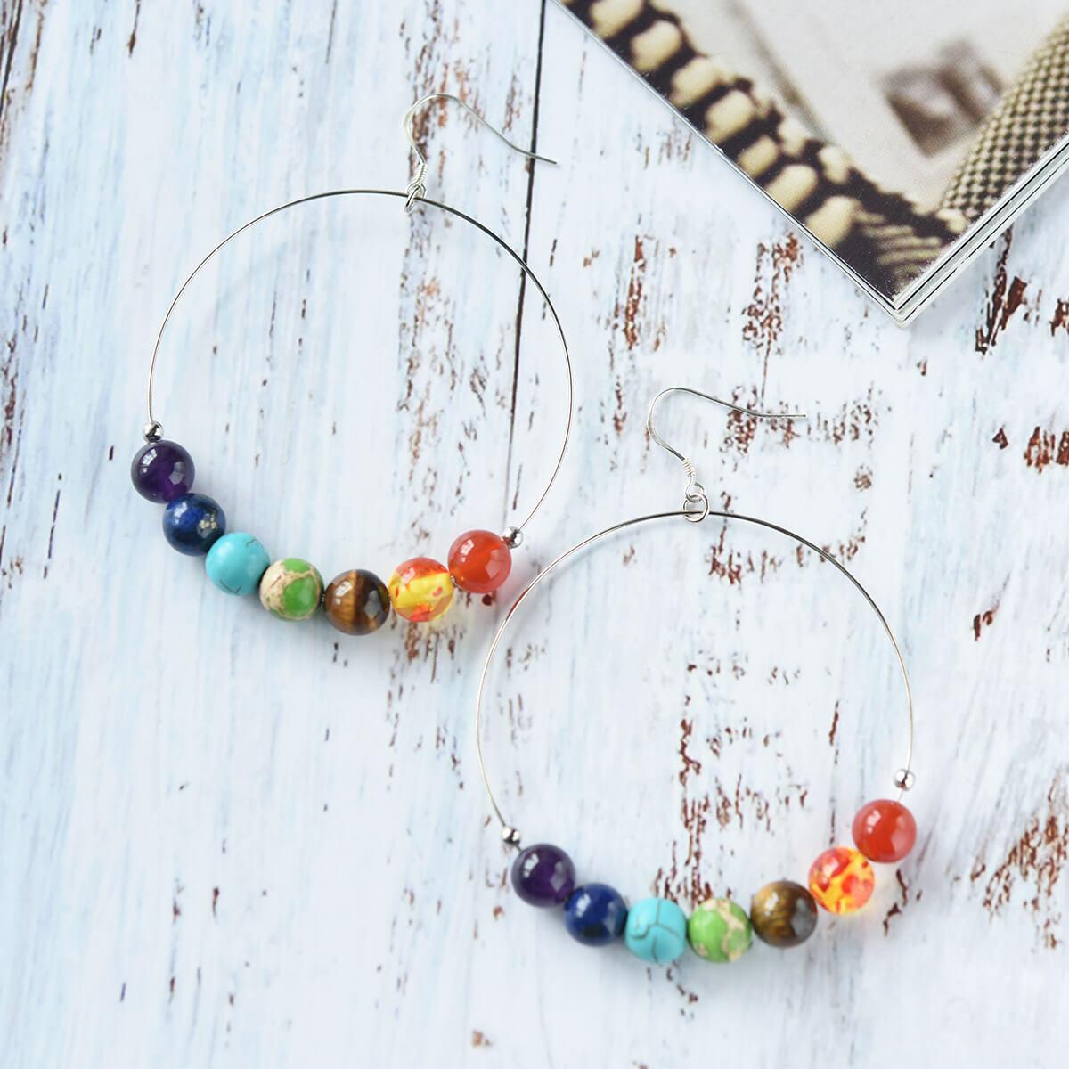 Turquoise Drop Dangle Chakra Earrings