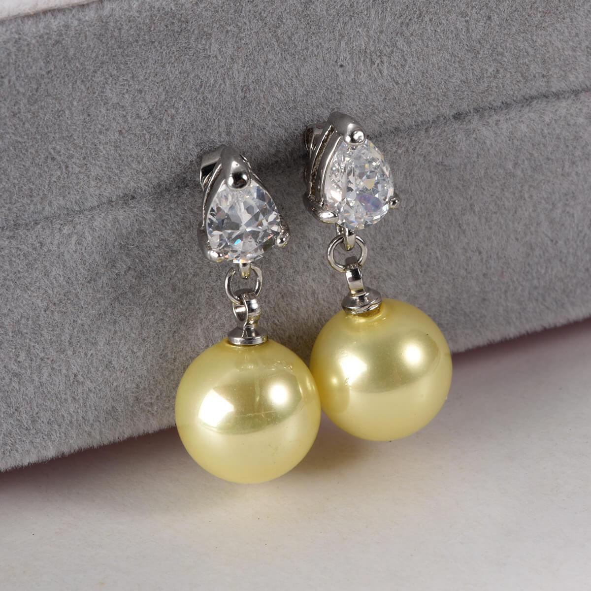 Yellow Pearls Drop Earring